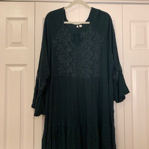 Green lace front tiered dress